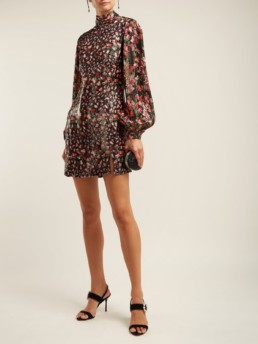RAQUEL DINIZ Elle Metallic Mini Black Floral Printed Dress