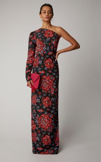 REBECCA DE RAVENEL Silk Georgette One Shoulder Black / Floral Printed Gown