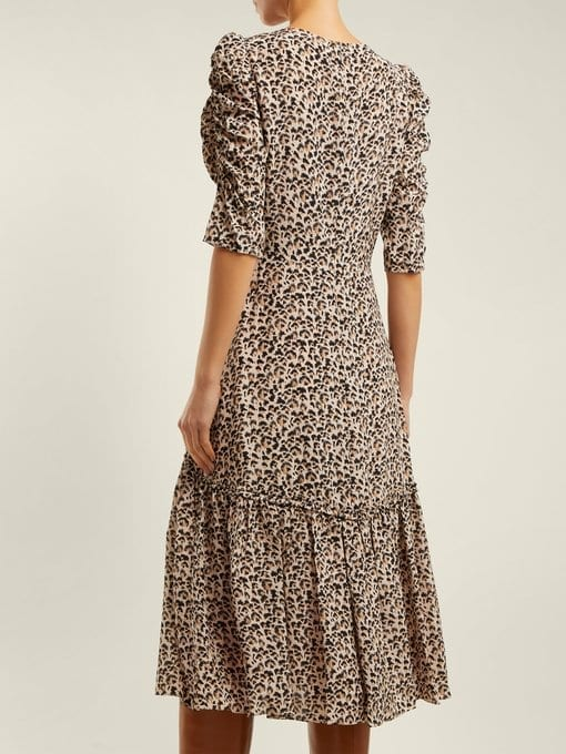 09a9a5943b REBECCA TAYLOR Leopard-Print Ruched Silk Beige Dress - We Select Dresses