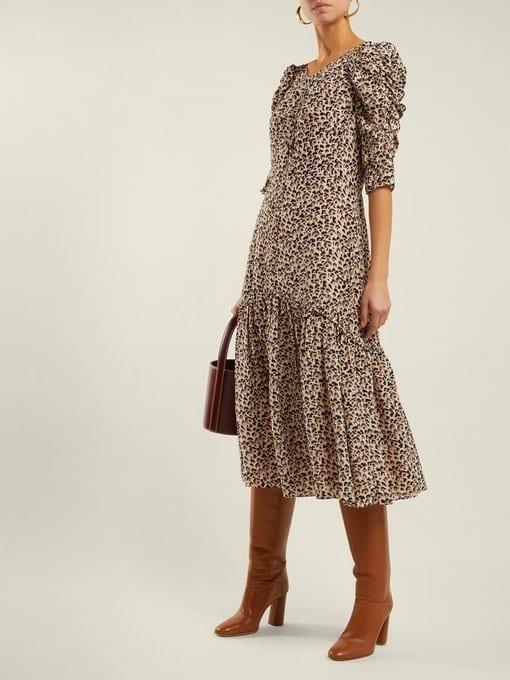 d3b348504f83a6 REBECCA TAYLOR Leopard-Print Ruched Silk Beige Dress - We Select Dresses