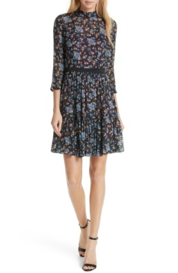 REBECCA TAYLOR Solstice Silk Cotton Blend Black / Floral Printed Dress
