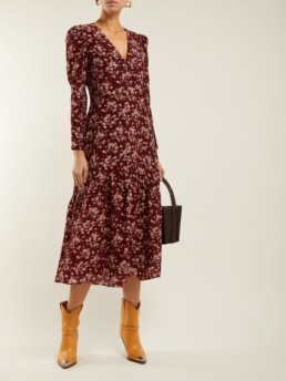 REBECCA TAYLOR Tilda Silk Midi Burgundy / Floral Printed Dress