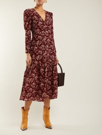 REBECCA TAYLOR Tilda Silk Midi Burgundy / Floral Printed Dress