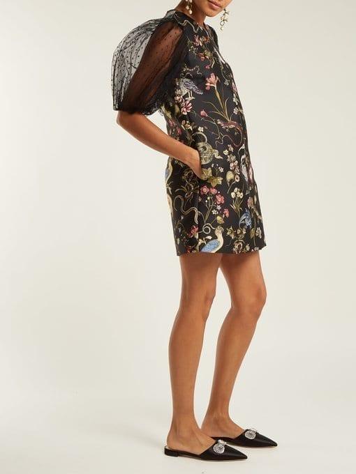 REDVALENTINO Floral-Jacquard Black Dress