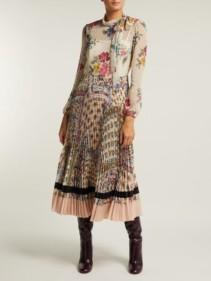 REDVALENTINO Pleated Floral-Print Chiffon & Crepe White Dress
