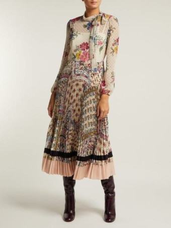 REDVALENTINO Pleated Floral-Print Chiffon & Crepe White Dress