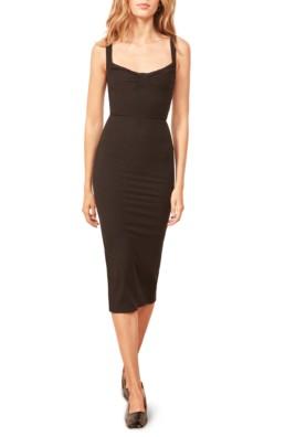 REFORMATION Adrian Sweetheart Neck Body-Con Black Dress