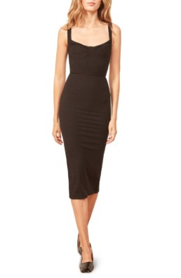 REFORMATION Adrian Sweetheart Neck Body-Con Black Dress