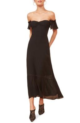 REFORMATION Butterfly Midi Black Dress