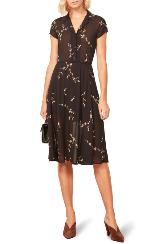 REFORMATION Griffith A-Line Brown / Floral Printed Dress