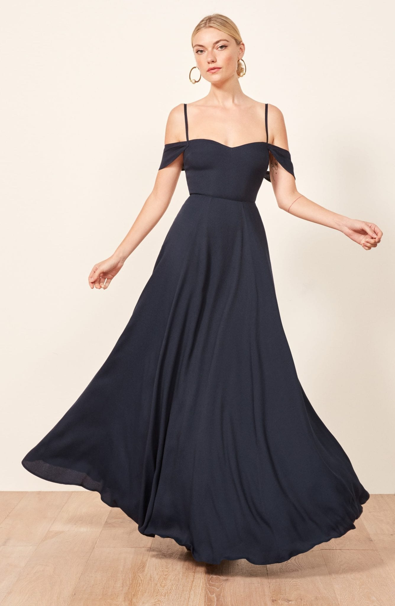 Reformation Poppy Maxi Navy Dress