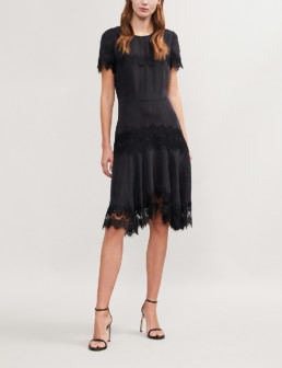 REISS Kelis Lace Trim Satin Black Dress