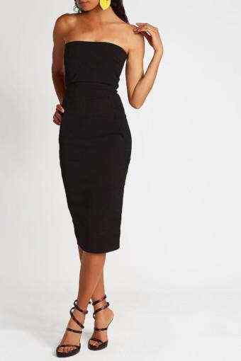 RICK OWENS Cotton Bustier Black Dress