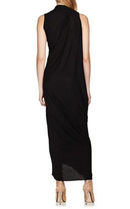 RICK OWENS Draped Jersey Black Dress