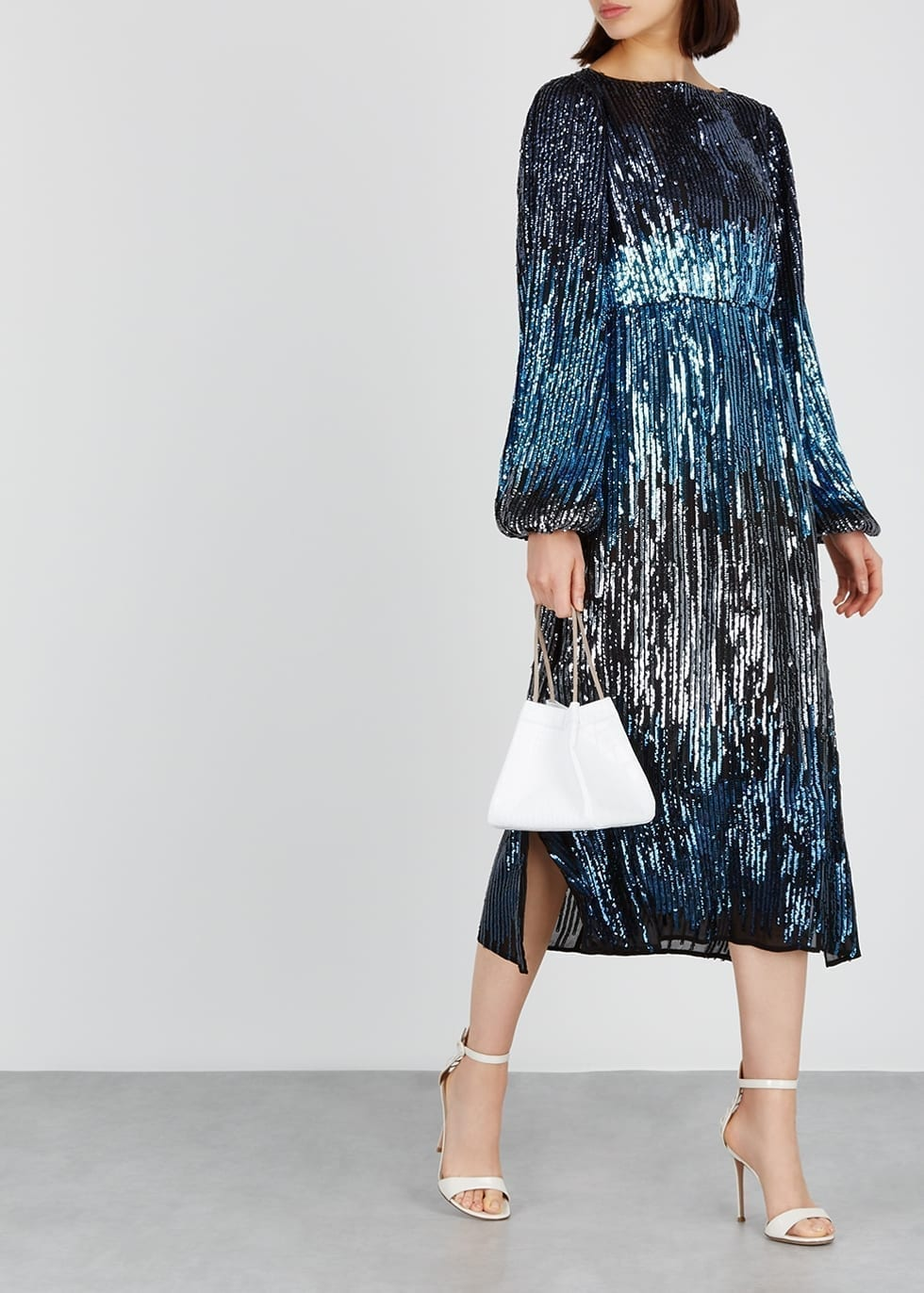 RIXO LONDON Coco Sequin-Embellished Blue Dress