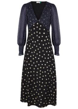 RIXO LONDON Erin Star-Print Silk Midi Black Dress 2