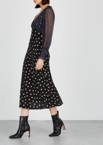 RIXO LONDON Erin Star-Print Silk Midi Black Dress 3