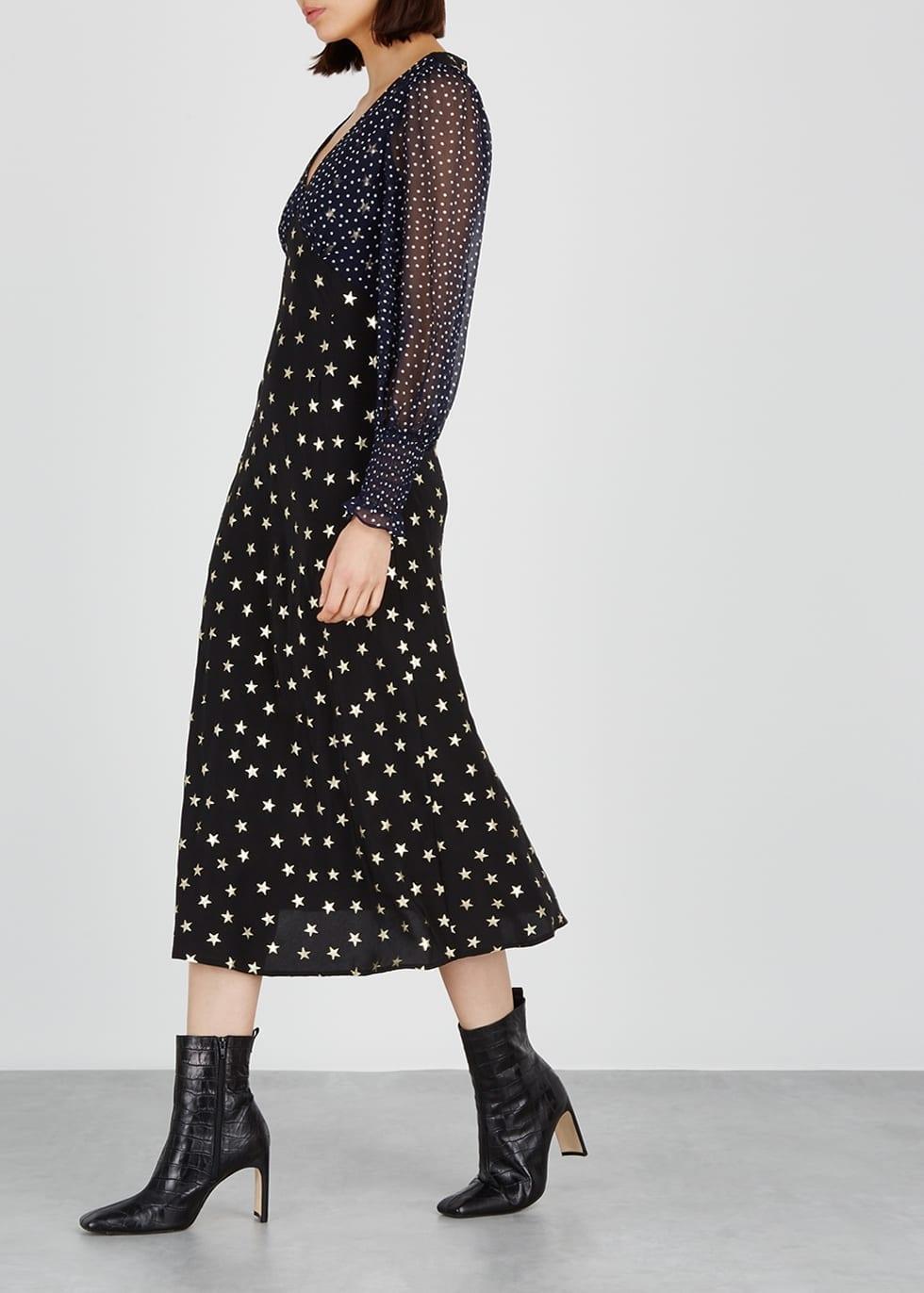 0db9d4faba3 RIXO LONDON Erin Star-Print Silk Midi Black Dress - We Select Dresses