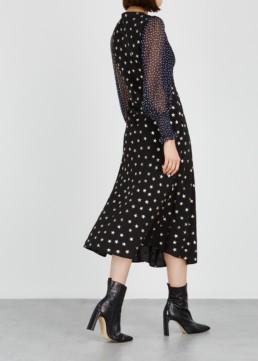 RIXO LONDON Erin Star-Print Silk Midi Black Dress 4