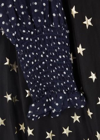 RIXO LONDON Erin Star-Print Silk Midi Black Dress 5