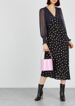 RIXO LONDON Erin Star-Print Silk Midi Black Dress