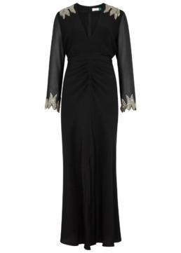 RIXO LONDON Giada Sequin-Embellished Silk Black Dress 2