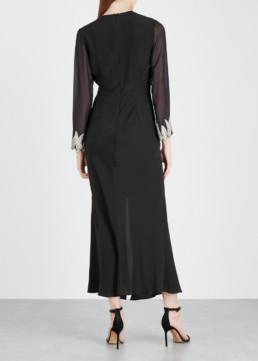 RIXO LONDON Giada Sequin-Embellished Silk Black Dress 3