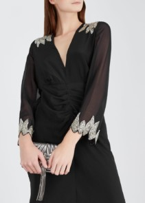 RIXO LONDON Giada Sequin-Embellished Silk Black Dress 4