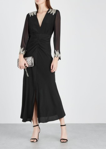 RIXO LONDON Giada Sequin-Embellished Silk Black Dress