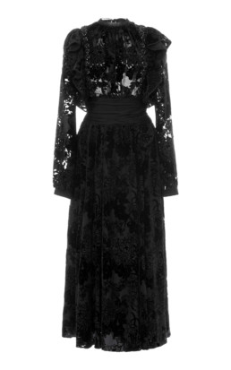 ROCHAS Ruffled Flocked Velvet Midi Black Dress