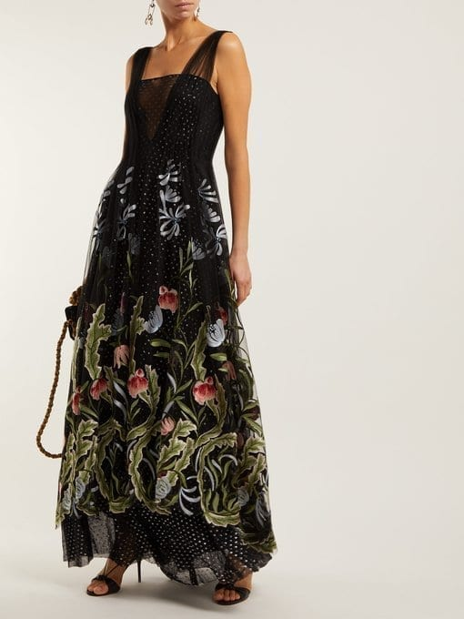 RODARTE Floral-Embroidered Fil-Coupé Tulle Black Gown