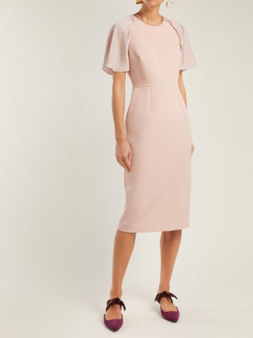ROKSANDA Cierra Contrast Panel Crepe Dusty Pink Dress