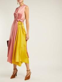 ROKSANDA Nyimi Knotted Silk-satin Midi Pink / Yellow Dress
