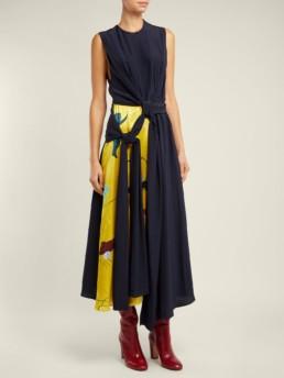 ROKSANDA Sorka Knotted Contrast-panel Silk Navy / Yellow Dress