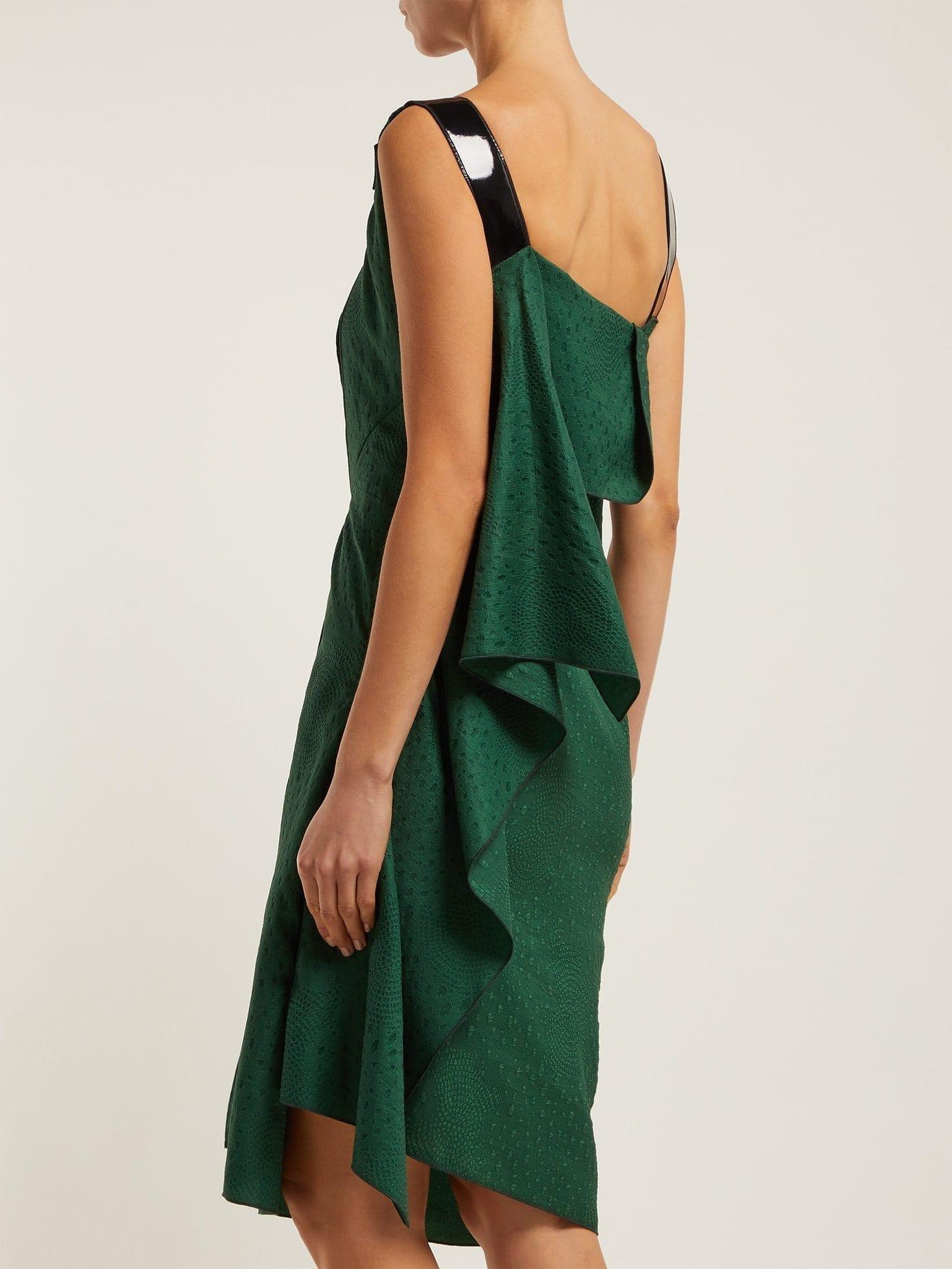Roland Mouret Cedrela Silk Blend Jacquard Asymmetric Midi Green Dress 4