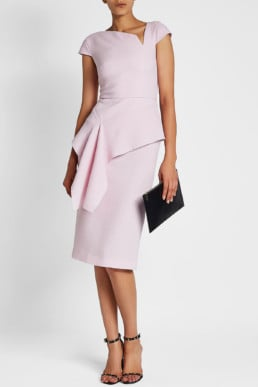 ROLAND MOURET Dandridge Wool Magenta Dress