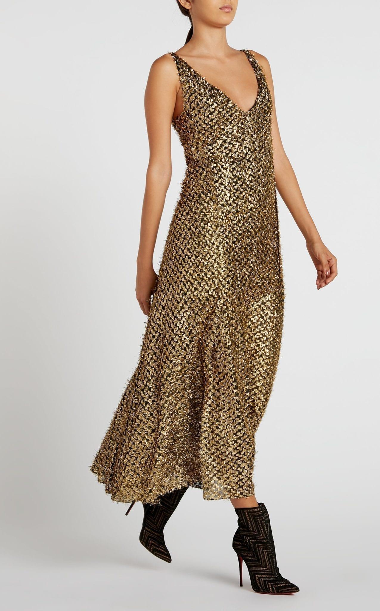 ROLAND MOURET Mallick Gold Dress