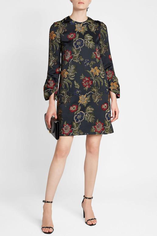 ROSETTA GETTY Embroidered Satin Shift Black Dress