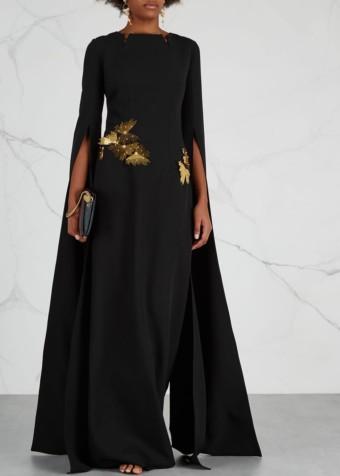 SAFIYAA Talin Black Embellished Black Gown