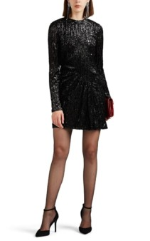 SAINT LAURENT Leopard Lamé Mini Black dress