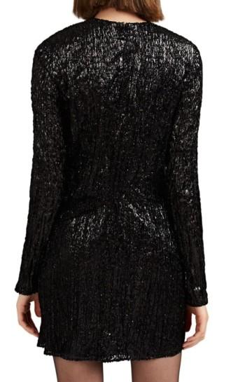 SAINT LAURENT Leopard Lamé Mini Black dress
