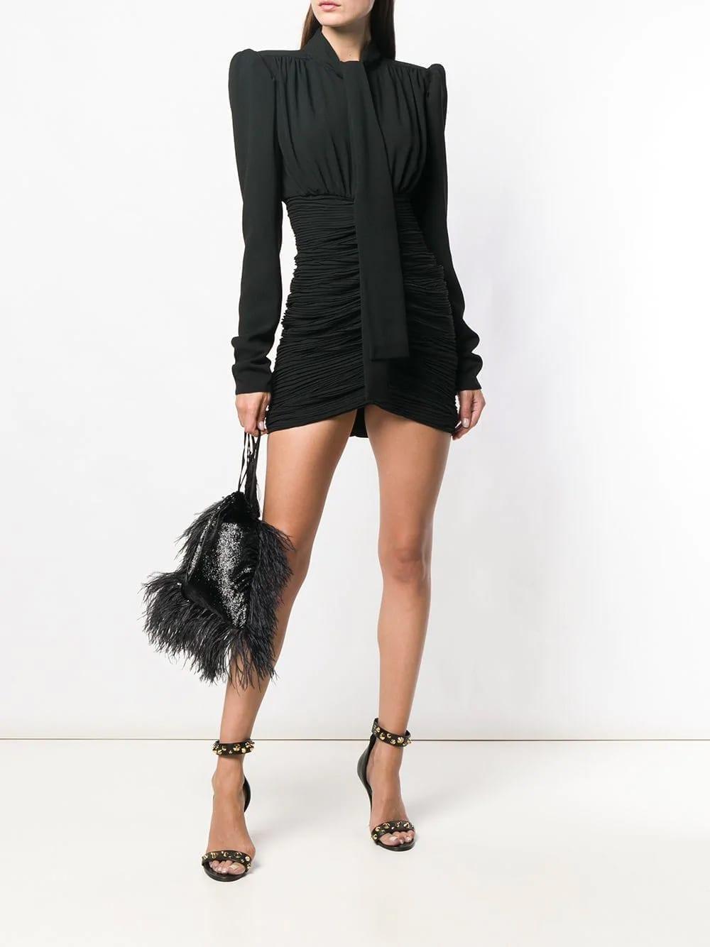 SAINT-LAURENT-Micro-Pleated-Mini-Black-Dress