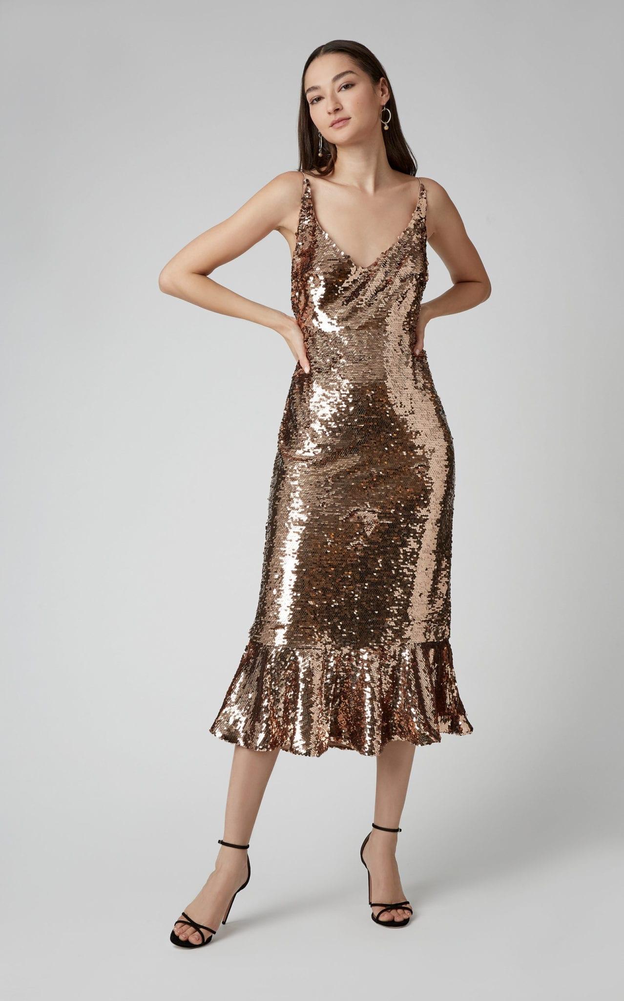 SALONI Aidan-D Sequin Ruffle Metallic Dress