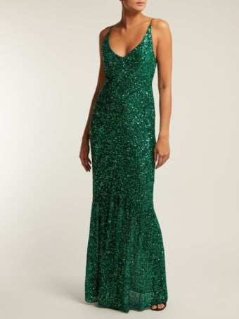 SALONI Aidan Sequinned Green Gown