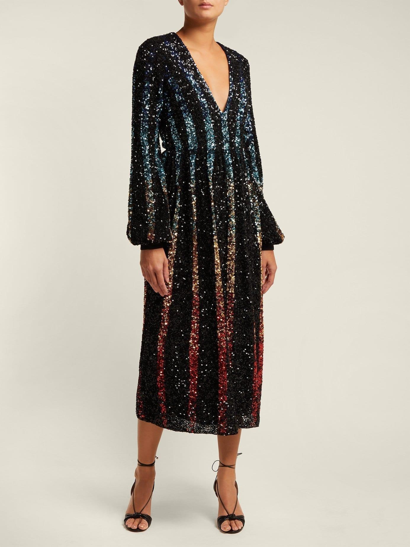 SALONI Camille Gradient Sequinned Black Dress