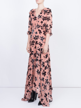 SALONI Edith Devore Pink / Floral Printed Dress