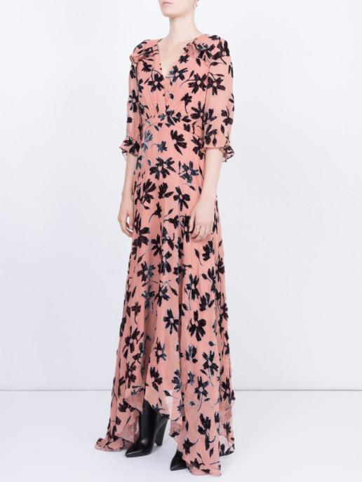 SALONI Edith Devore Pink / Floral Printed Dress