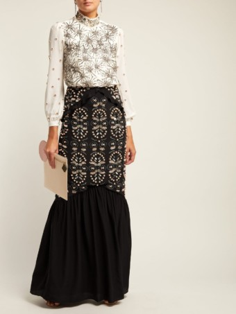 SALONI Isa Beaded Silk Crepe De Chine Black Dress