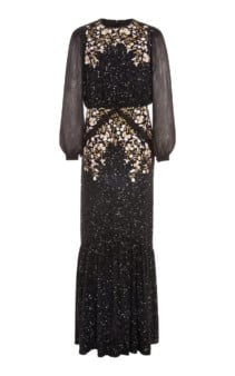 SALONI Isa Embellished Embroidered Silk-Tulle Black Gown