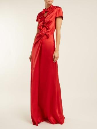 SALONI Kelly Bow Detail Silk Satin Red Dress